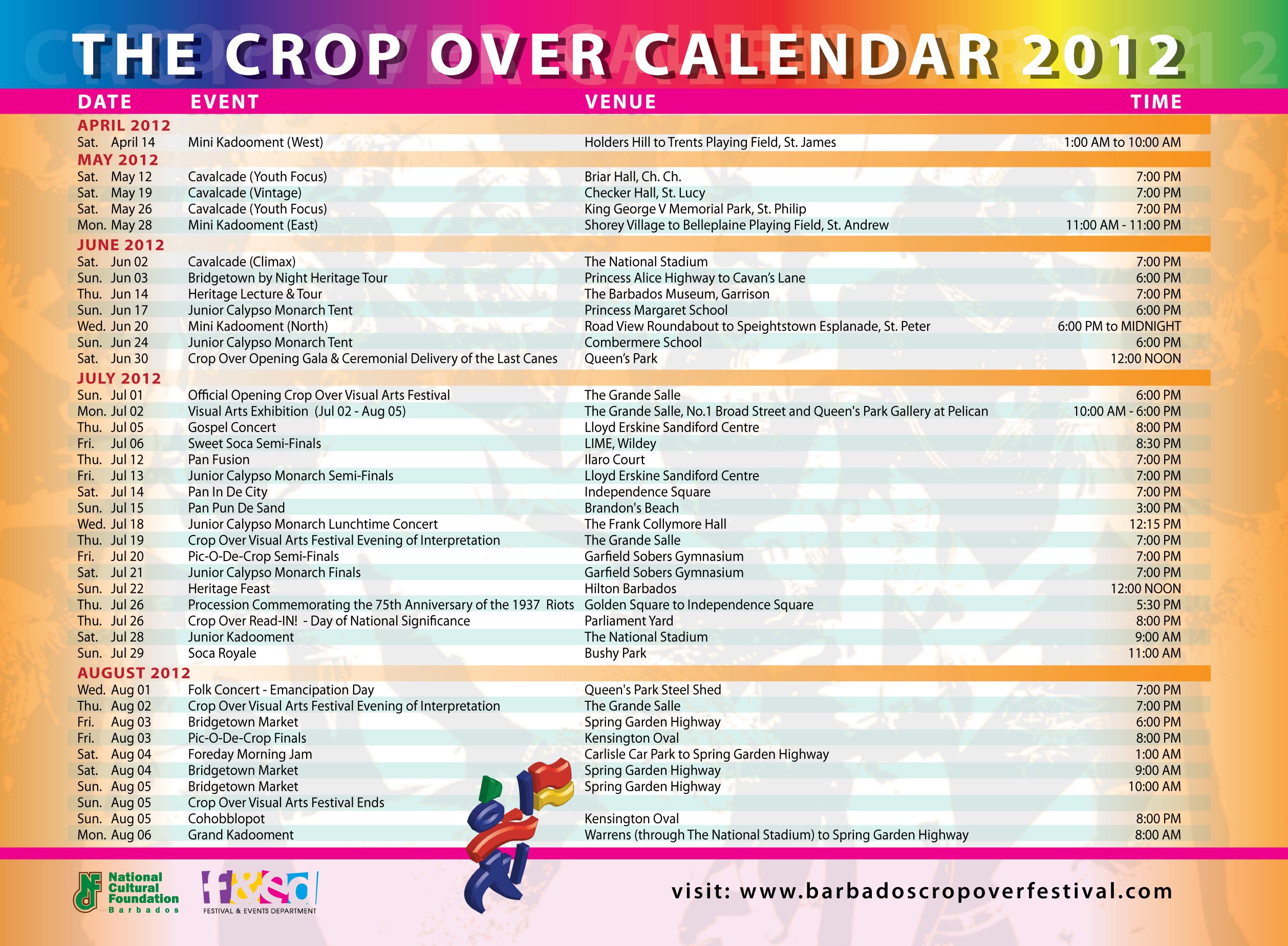 Calendar Festival : Barbados crop over festival full calendar of events